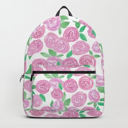 Pale pink roses . Watercolor . Backpack