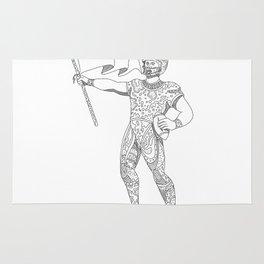 Quarterback Holding Flag Doodle Rug