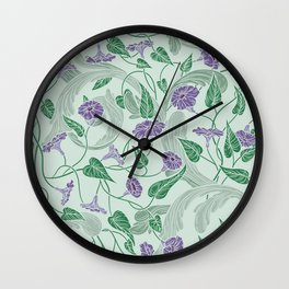 Purple morning glory with ornaments on light green background Wall Clock