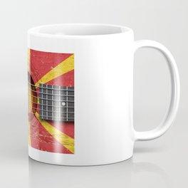 Old Vintage Acoustic Guitar with Macedonian Flag Coffee Mug