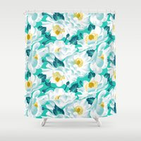 cook Shower Curtains featuring Mount Cook Lily by Andrea Stark