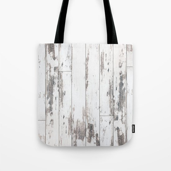 White Wood Tote Bag