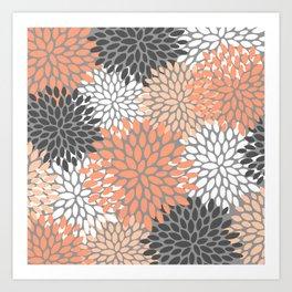 Floral Pattern, Coral, Gray, White Art Print