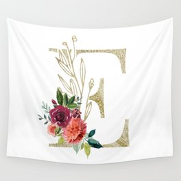 Gold Foil Monogram Letter E with watercolor flowers Wall Tapestry