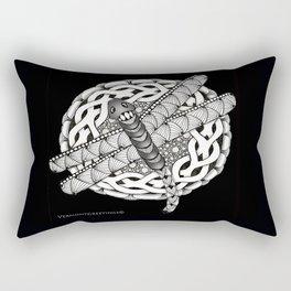 Zentangle Dragonfly Black and White Illustration Rectangular Pillow