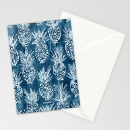 PINEAPPLE STANCE Indigo Boho Watercolor Stationery Cards
