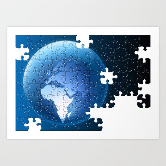 Puzzeled Earth Art Print