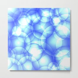 Gentle intersecting blue translucent circles in pastel colors with a heavenly glow. Metal Print