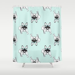 Soft turquoise mint Frenchies Shower Curtain