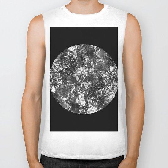 Silver Moon - Abstract, textured silver foil lunar design Biker Tank