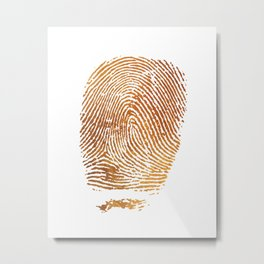 Gold Fingerprint Minimalist Modern Animal Print Selfie Bohemian Chic Fashion Metal Print