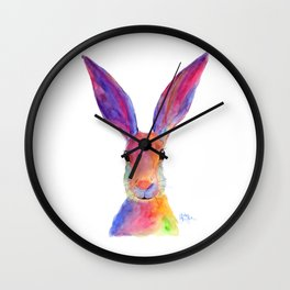 Happy Hare ' JELLY BEAN ' by Shirley MacArthur Wall Clock