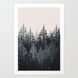 Pine Forest - Black & Grey Art Print