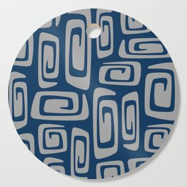 Mid Century Modern Cosmic Abstract 513 Blue and Gray Cutting Board