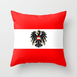 Austrian Flag and Coat of Arms Throw Pillow