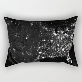 The Lights of the USA (Black and White) Rectangular Pillow
