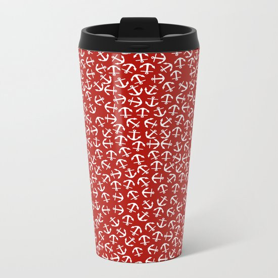 Maritime small Nautical Red and White Anchor Pattern - Anchors on #Society6 Metal Travel Mug