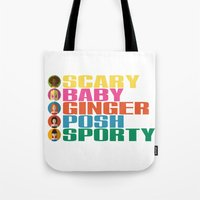 spice girls Tote Bags featuring SPICE GIRLS by Chilli Cactus