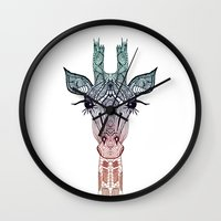girl Wall Clocks featuring GiRAFFE by Monika Strigel