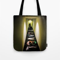 travel poster Tote Bags featuring Travel by Camilo Rojas