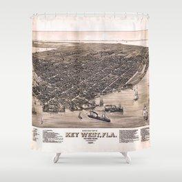 Bird's Eye View of Key West, Florida (1884) Shower Curtain