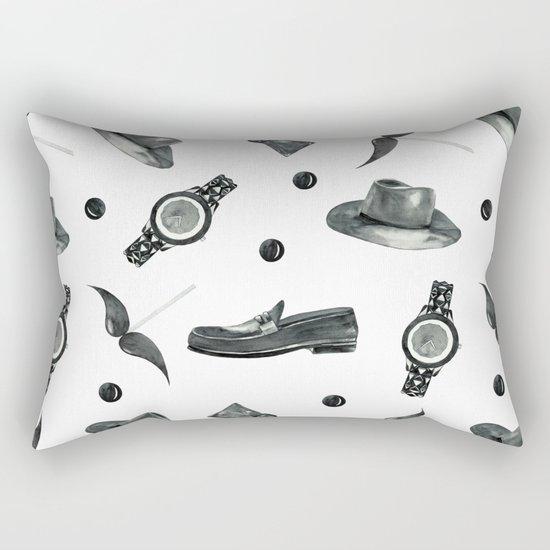 watercolor fashion pattern  black on white Rectangular Pillow