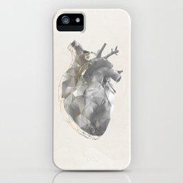 golden polygon heart iPhone Case