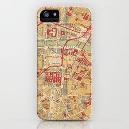 Paris City Centre Map - Vintage Full Color iPhone Case