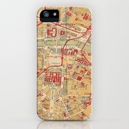 Paris City Centre Map - Vintage Full Color iPhone Case