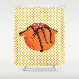 Pop Art Orange Illustration Shower Curtain