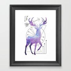 Ethnic deer and space Framed Art Print