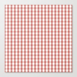 Camellia Pink and White Gingham Check Plaid Canvas Print
