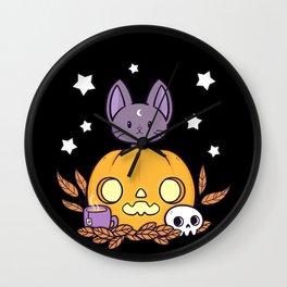 Pumpkin Cats Son // Black Wall Clock