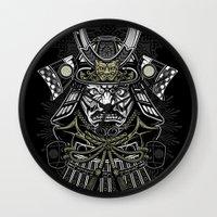 samurai Wall Clocks featuring Samurai by Brewer Arts