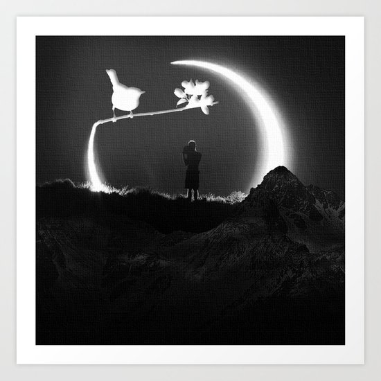 THE BOY AND THE BIRD Art Print