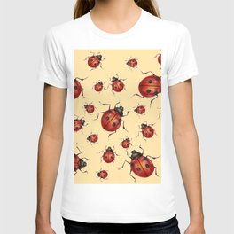 ABSTRACT RED LADY BUGS ON CREAM COLOR DESIGN ART T-shirt