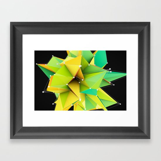Polygons green Abstract Framed Art Print
