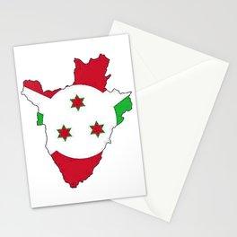 Burundi Map with Burundian Flag Stationery Cards