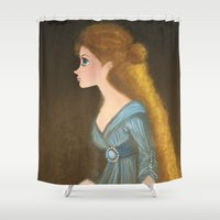 rapunzel Shower Curtains featuring Rapunzel by carotoki art and love