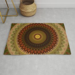 Brown and red tones mandala Rug