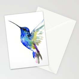 Hummingbird, Turquoise BLue Flying Bird decor Stationery Cards