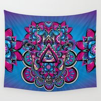 hamsa Wall Tapestries featuring HAMSA by Fly Design Studio