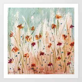 Tiger Lilies, Coneflowers, & Those Blue Things Art Print