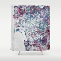 san diego Shower Curtains featuring San Diego map by MapMapMaps.Watercolors
