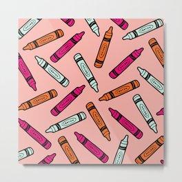Crayons on Pink Pattern Metal Print