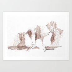Shadows Sepia Art Print