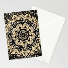 Mandala Indian Gold Spiritual Zen Bohemian Hippie Asian Yoga Mantra Meditation Stationery Cards