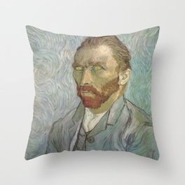 Van Gogh The Starry Night in His Eyes Self Portrait Oil Painting Throw Pillow