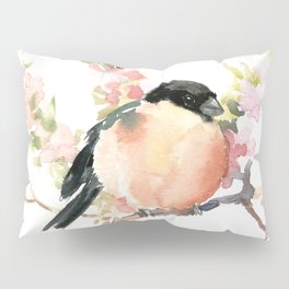 Bullfinch and Spring, Peach colored Floral bird art, spring soft colors Pillow Sham