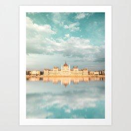 Budapest parliament Reflection Art Print